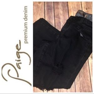 Paige Premium Denim Distressed Black Jeans, Sz. 25